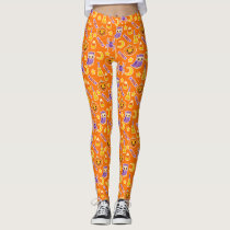Stylish and Cute Halloween Orange Pattern Leggings