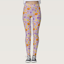 Stylish and Cute Halloween Purple Pattern Leggings