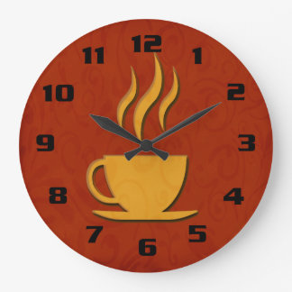 Stylish and Elegant Coffee or Tea Cup Kitchen Large Clock