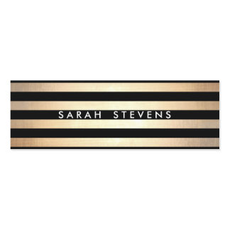 Stylish and Gold Thin Black Striped Modern Double-Sided Mini Business Cards (Pack Of 20)