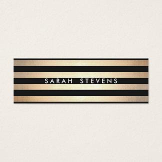 Stylish and Gold Thin Black Striped Modern Mini Business Card