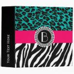 Stylish Animal Prints Zebra and Leopard Patterns Vinyl Binder
