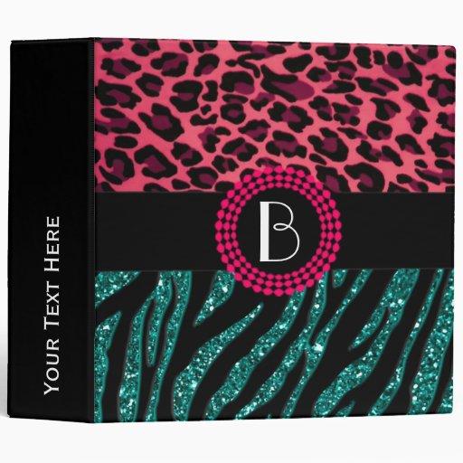 Stylish Animal Prints Zebra and Leopard Patterns 3 Ring Binder