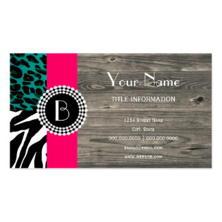Stylish Animal Prints Zebra and Leopard Patterns Double-Sided Standard Business Cards (Pack Of 100)