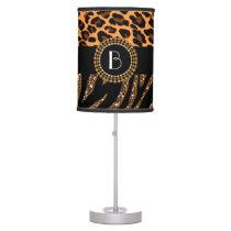 Stylish Animal Prints Zebra and Leopard Patterns Desk Lamp