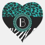 Stylish Animal Prints Zebra and Leopard Patterns Heart Sticker