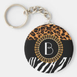 Stylish Animal Prints Zebra and Leopard Patterns Basic Round Button Keychain