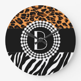 Stylish Animal Prints Zebra and Leopard Patterns Large Clock
