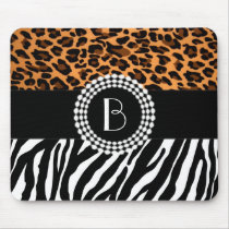Stylish Animal Prints Zebra and Leopard Patterns Mouse Pad