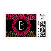 Stylish Animal Prints Zebra and Leopard Patterns Postage