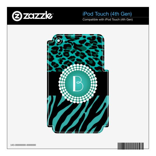 Stylish Animal Prints Zebra and Leopard Patterns Decals For iPod Touch 4G