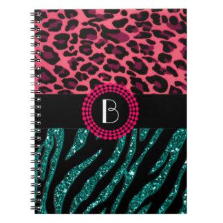 Stylish Animal Prints Zebra and Leopard Patterns Spiral Notebook