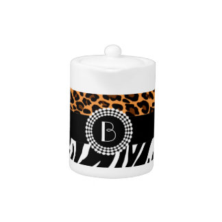 Stylish Animal Prints Zebra and Leopard Patterns Teapot