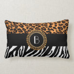 Stylish Animal Prints Zebra and Leopard Patterns Throw Pillow