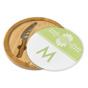 Stylish Apple Green And White Custom Monogram Cheese Board