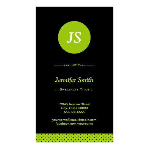 Stylish Apple Green - Modern Simplicity Theme Business Card Template