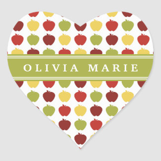 Stylish Apple Pattern with Personalized Name Heart Sticker