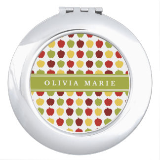 Stylish Apple Pattern with Personalized Name Makeup Mirror