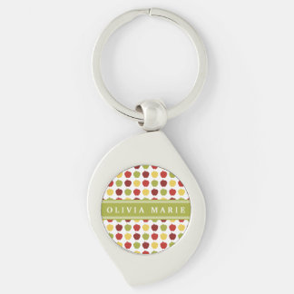 Stylish Apple Pattern with Personalized Name Keychains