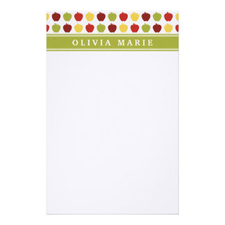Stylish Apple Pattern with Personalized Name Stationery