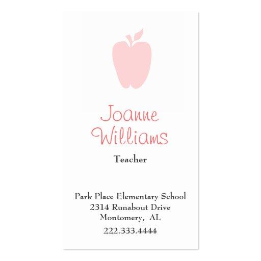 Stylish Apple Teacher Business Card