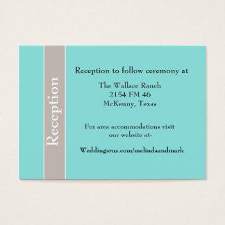 Stylish Aqua Blue and Taupe Wedding Enclosure Card