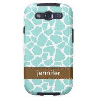 Stylish Aqua Giraffe Pattern Samsung Galaxy S3 Cases