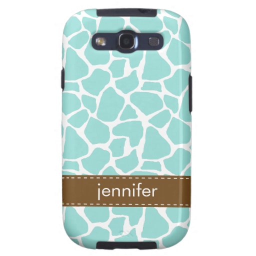 Stylish Aqua Giraffe Pattern Galaxy S3 Cases
