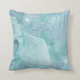 Stylish Aqua Seashell Pillow