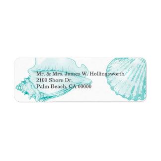 Stylish Aqua Seashells Label