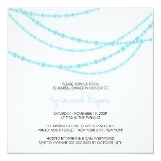 Stylish Aqua Sparkles Glow Rehearsal Dinner Party  Card