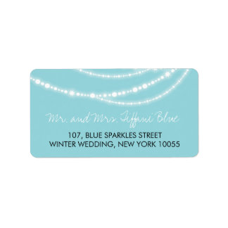 Stylish Aqua Sparkles Glow Strands Wedding Labels