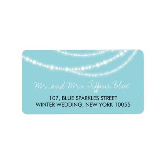 Stylish Aqua Sparkles Glow Strands Wedding Labels