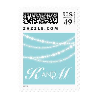 Stylish Aqua Sparkles Glow Strands Wedding Stamps