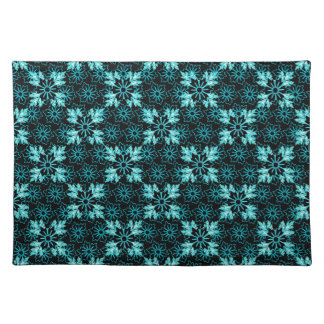 Stylish Aqua Teal and Black Floral Cloth Placemat