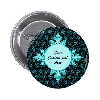 Stylish Aqua Teal and Black Flower Custom Pinback Button