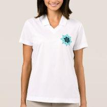 Stylish Aqua Teal and Black Flower Polo Shirt