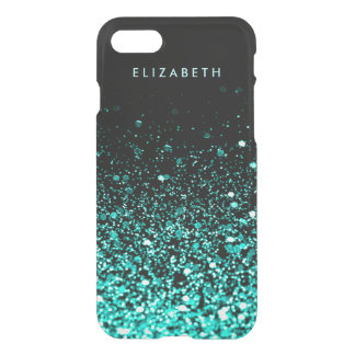 Stylish Aqua Teal Blue Green Glitter Black Clearly iPhone 8/7 Case