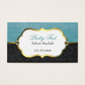 Stylish Aquamarine and Black Damask Business Card