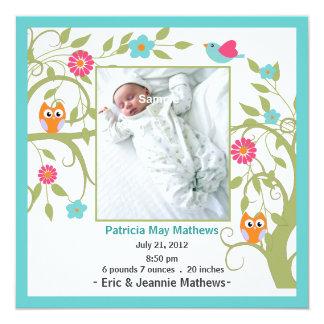 Stylish Aquamarine Custom Baby Announcement