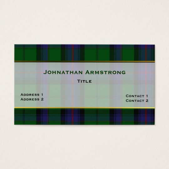 Stylish Armstrong Clan Plaid Custom Business Card
