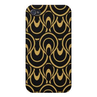 Stylish Art Deco Black Gold iPhone 4 Cases