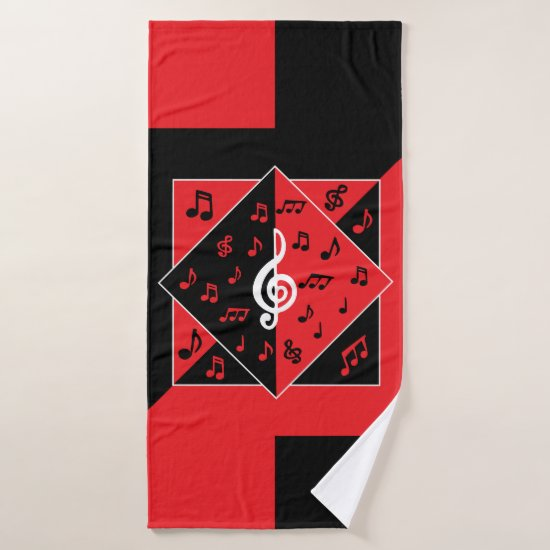 Stylish Art Deco Music Notes Red Black White Bath Towel Set