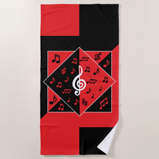 Stylish Art Deco Music Notes Red Black White Beach Towel