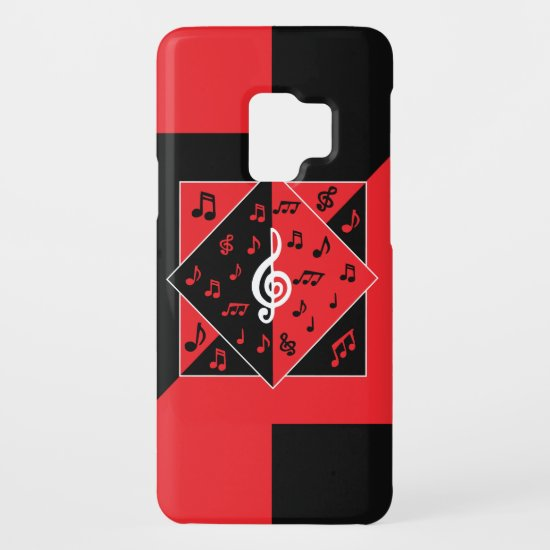 Stylish Art Deco Music Notes Red Black White Case-Mate Samsung Galaxy S9 Case