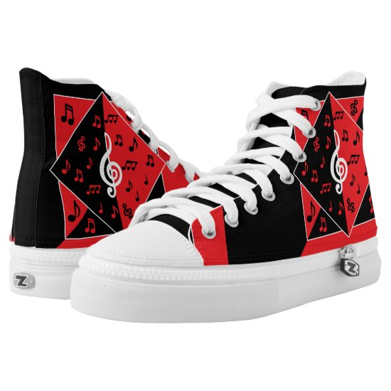 Stylish Art Deco Music Notes Red Black White High-Top Sneakers