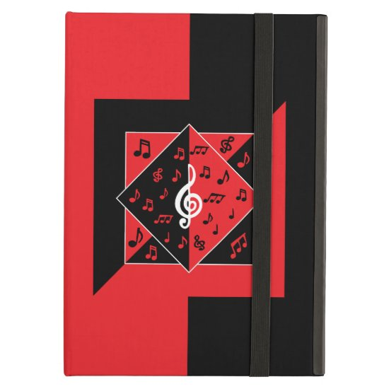 Stylish Art Deco Music Notes Red Black White iPad Air Case