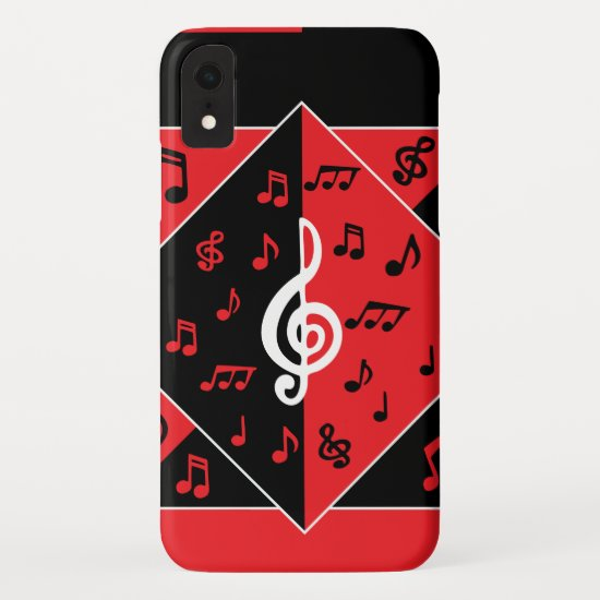 Stylish Art Deco Music Notes Red Black White iPhone XR Case