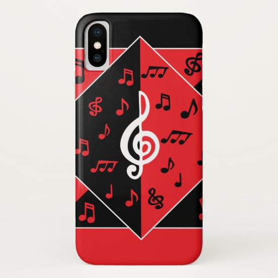 Stylish Art Deco Music Notes Red Black White iPhone XS Case
