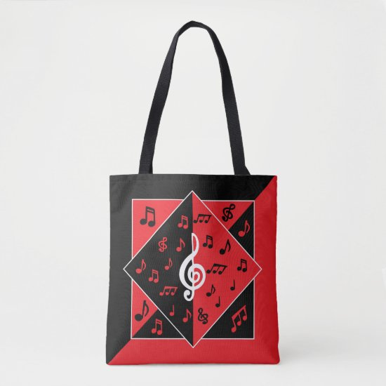 Stylish Art Deco Music Notes Red Black White Tote Bag